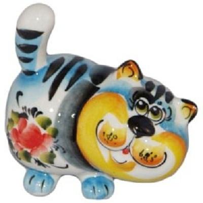 кот цветной из фарфора 8.5 см