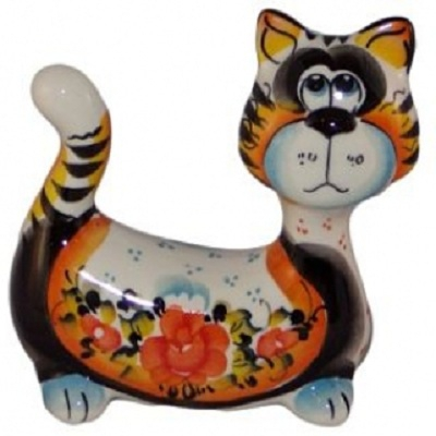 кот фарфор цветной 13 см