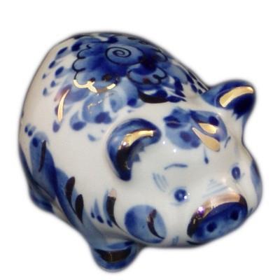 свинка гжель с позолотой 8 см.