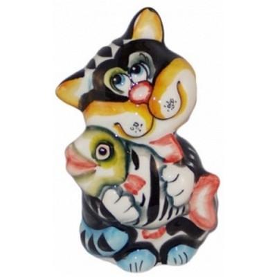 кот цветной из фарфора 12 см