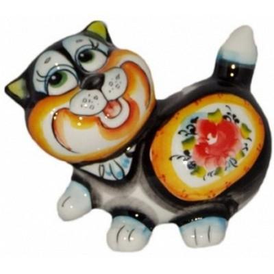 Кот фарфоровый цветной 13 см