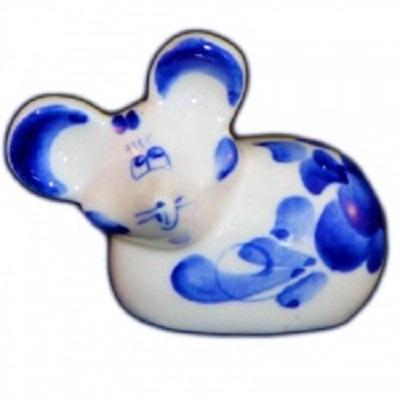 фигурка мышь с росписью гжель, 7.5 см