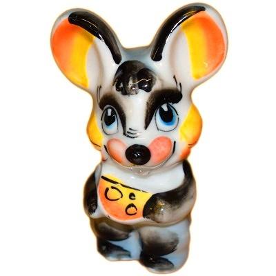 Цветной мышонок с сыром из фарфора