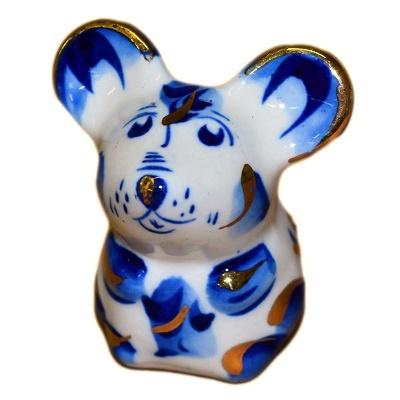 Гжельская мышь с золотом