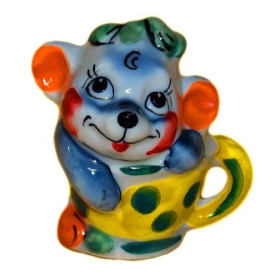 Мышка в чашке фарфор