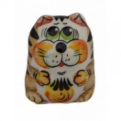 Кот фарфоровый цветной 4 см