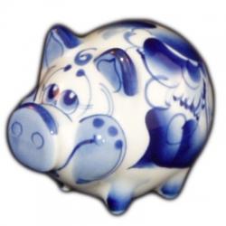 Свинка гжель сувенир 2019 года 7.5 см